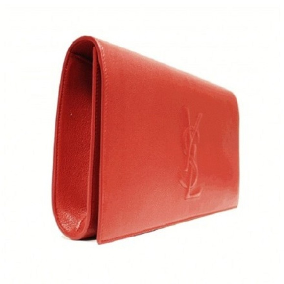 YSL Yves Saint Laurent Red Leather Large Clutch efb163d80cb00